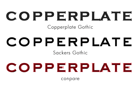 Sackers GothicとCopperplate Gothic
