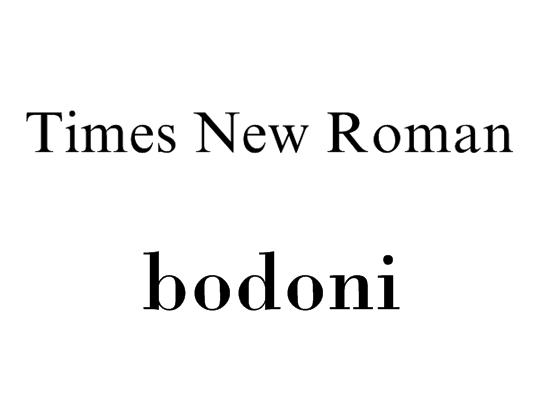 Times New RomanとBodoni